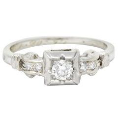 Sweet Vintage 0.17 Carat Diamond 18 Karat White Gold Engagement Ring