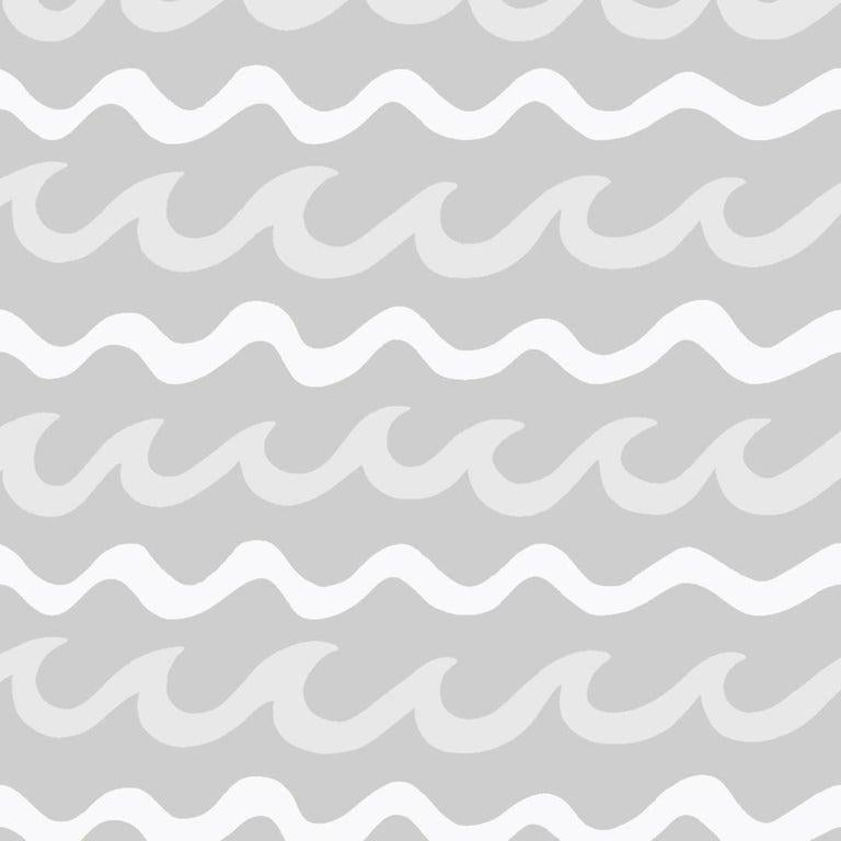Modern Swell Designer Wallpaper in Cloud 'White, Pale Grey and Mid Grey' For Sale