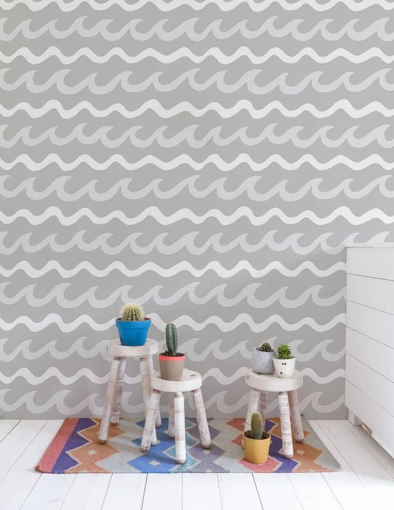 American Swell Designer Wallpaper in Cloud 'White, Pale Grey and Mid Grey' For Sale