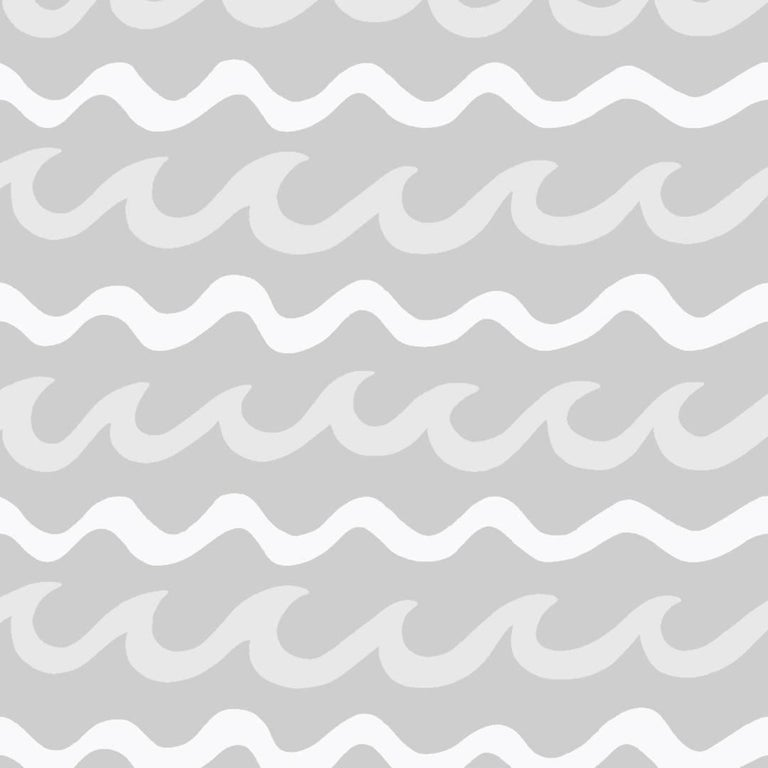 Swell Designer Wallpaper in Cloud 'White, Pale Grey and Mid Grey' For Sale
