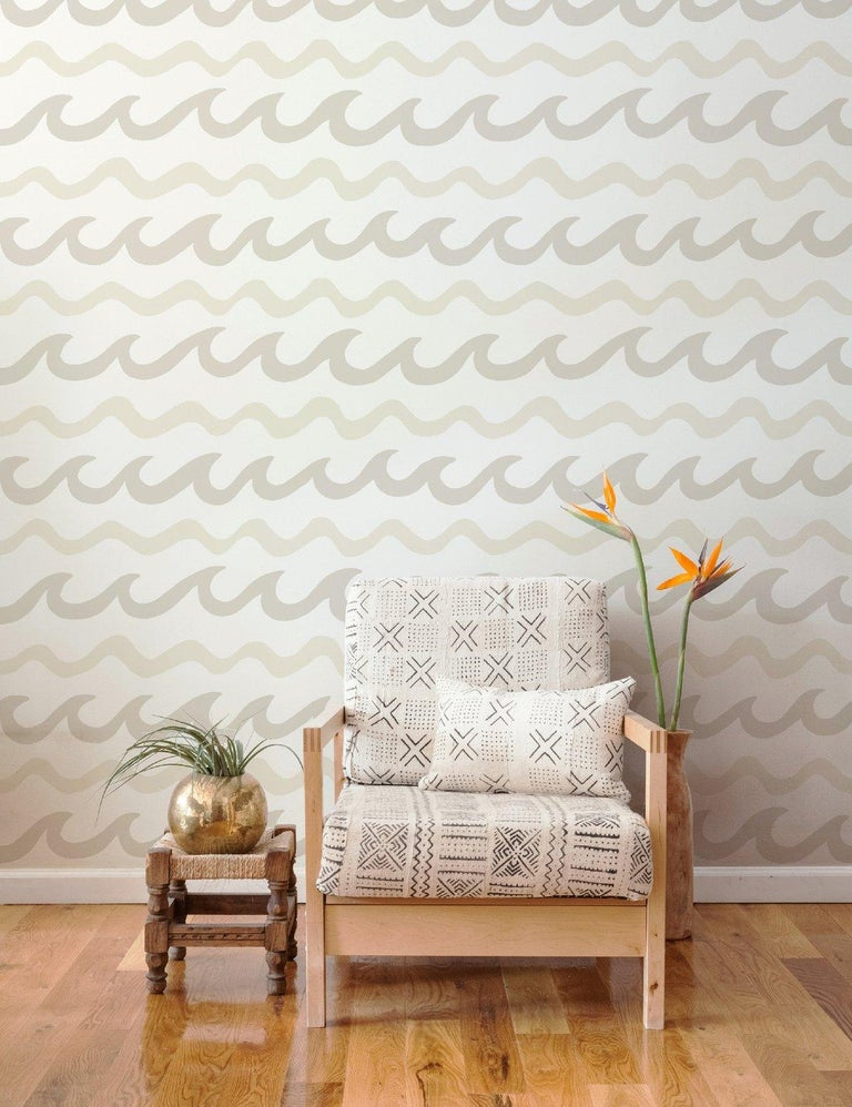 American Swell Screen-Printed Wallpaper in Coconuts 'Neutrals on Soft White' For Sale