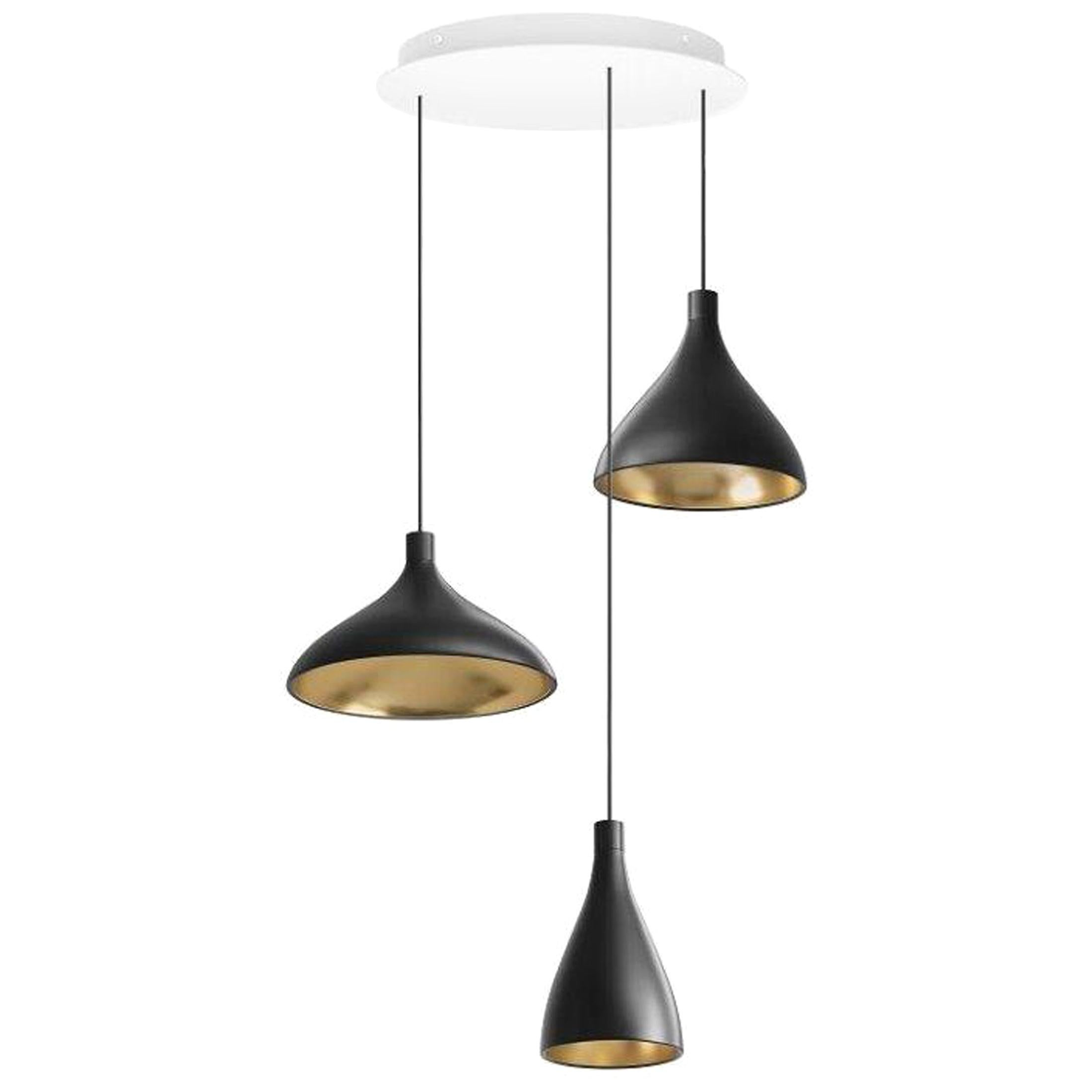 Swell XL LED 3-Piece Chandelier in Brass by Pablo Designs