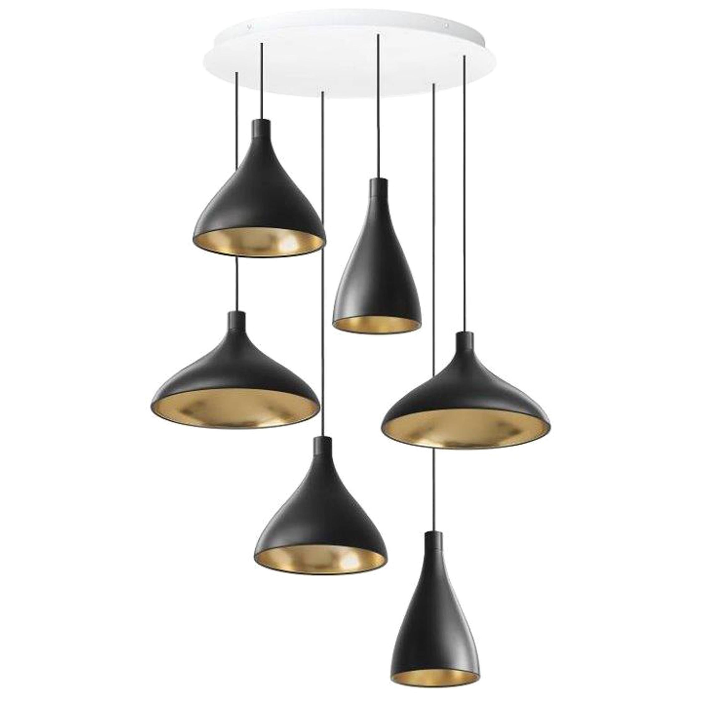 Swell XL LED 6-Piece Chandelier in Brass by Pablo Designs