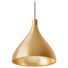 Swell XL Single Medium LED Pendant Lamp in Brass by Pablo Designs