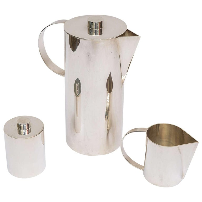 Swid Powell for Calvin Klein Silver Plate Three-Piece Coffee Service For Sale