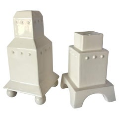 "Swid Powell ""Tigerman City"" Ceramic Candlestick Holder Pair, Germany"