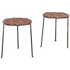 Swift and Monell Woven Leather Iron Stools