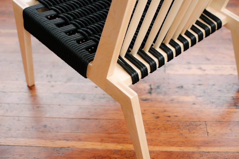 American Swift Easy Chair, Handmade Modern Spindle Back Maple and Rope Woven Lounge Chair For Sale