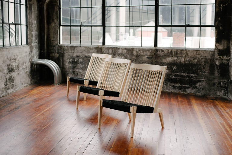 Turned Swift Easy Chair, Handmade Modern Spindle Back Maple and Rope Woven Lounge Chair For Sale