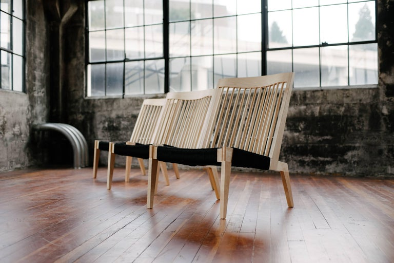 Contemporary Swift Easy Chair, Handmade Modern Spindle Back Maple and Rope Woven Lounge Chair For Sale