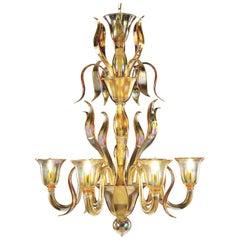 Italian Chandelier 6 arms Iris Amber artistic Murano Glass by Multiforme Venice