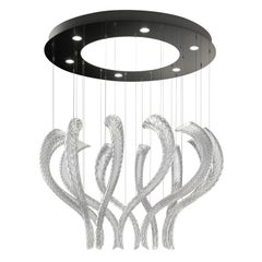 Swing7323 Suspension Lamp in Glass with Polished Chrome Finish, by Barovier&Toso