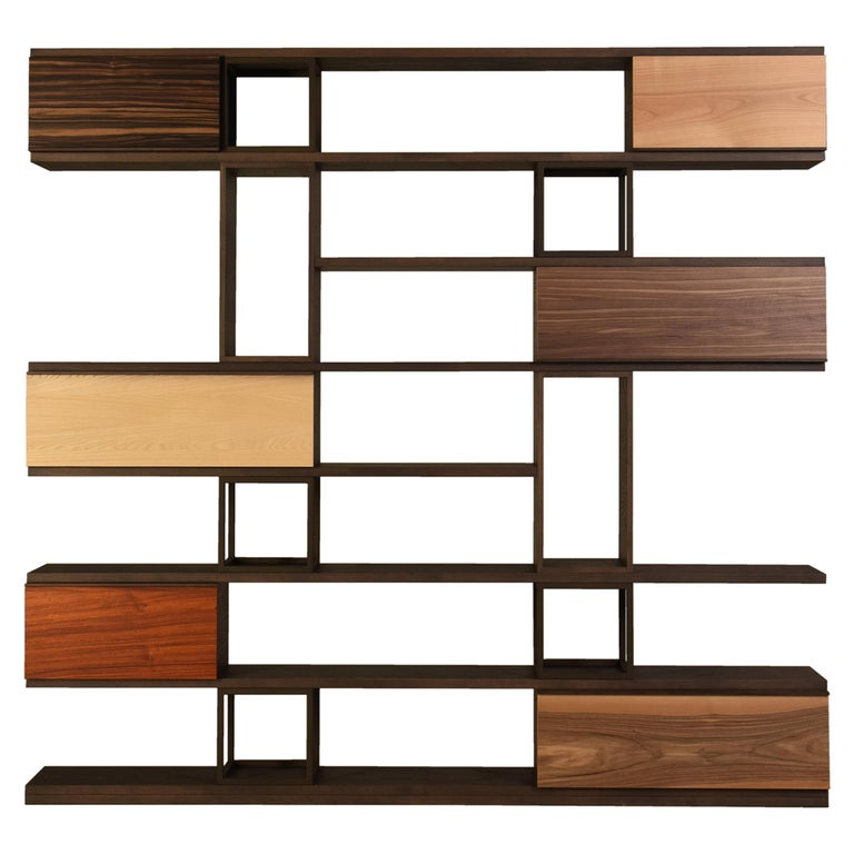 Swing Contemporary Bookcase Made of Ashwood and Metal For Sale