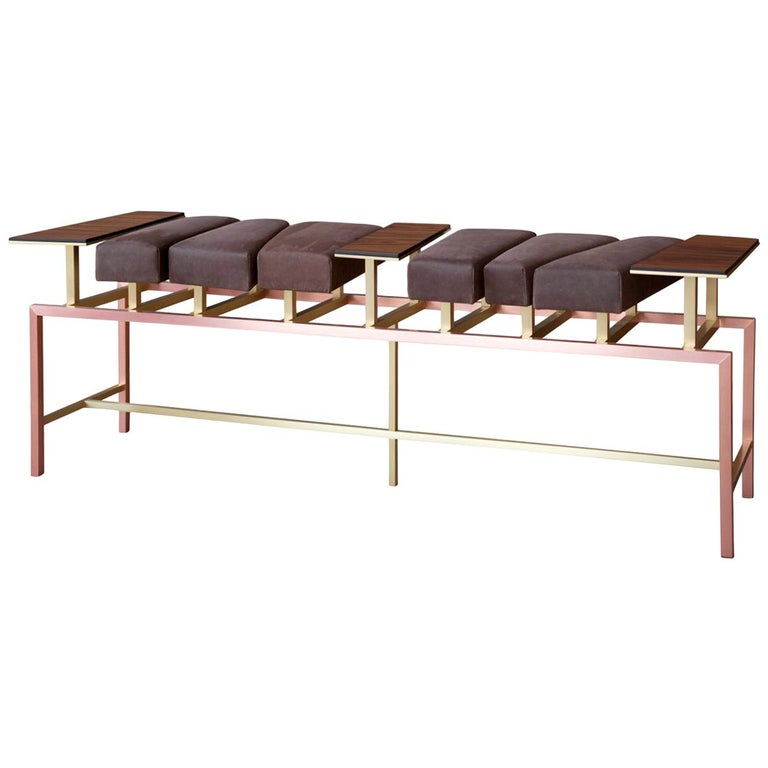 Swing, Copper and Brass Bench with Leather and Rosewood, Used for Exhibition For Sale