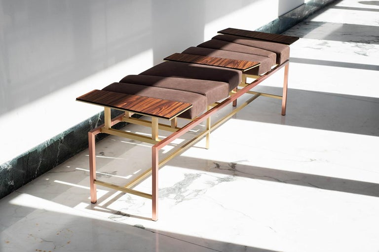 Modern Swing, Copper and Brass Contemporary Bench with Nubuck Leather and Rosewood For Sale