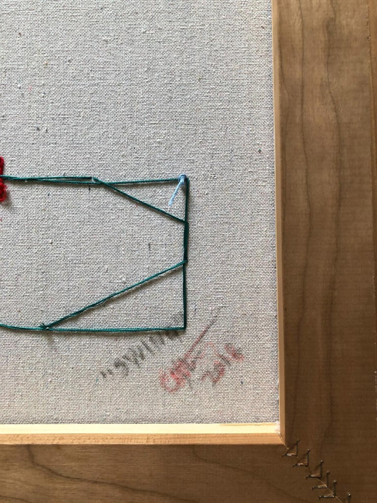 Hand stitched canvas, thread. Wood cherry frame Dimensions: 20 in. H X 16 in. W One of a kind  Casey Waterman was born and raised in a small rural town in New Hampshire. With over a decade of culminated work, his process and curiosity are mostly