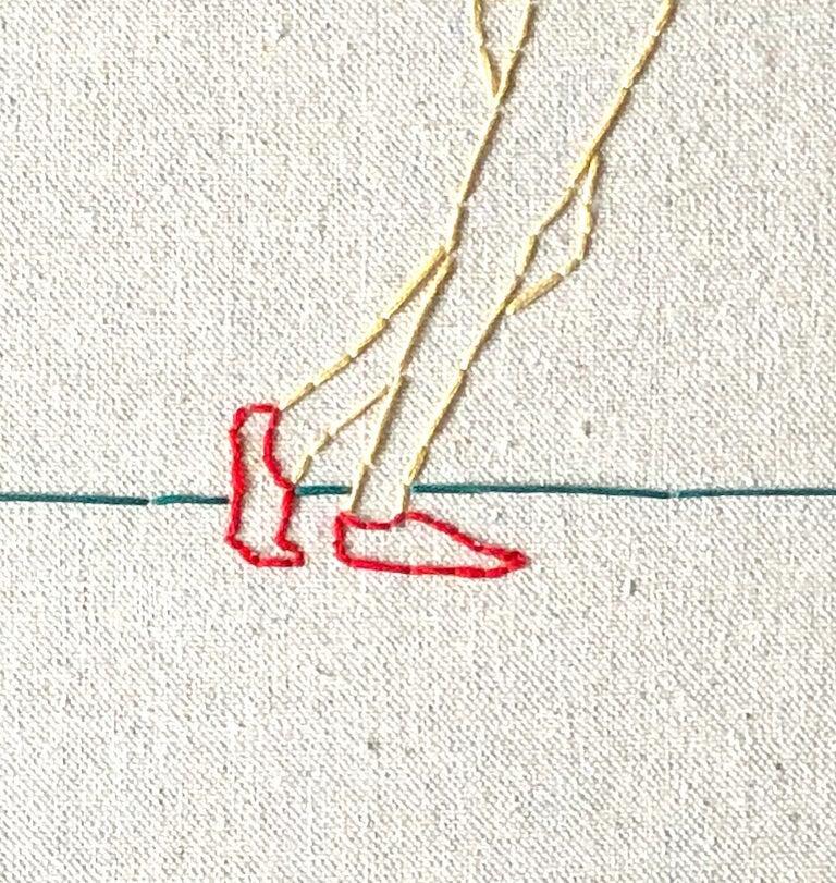 Modern Swing, Hand Stitched Canvas, Cherrywood Frame