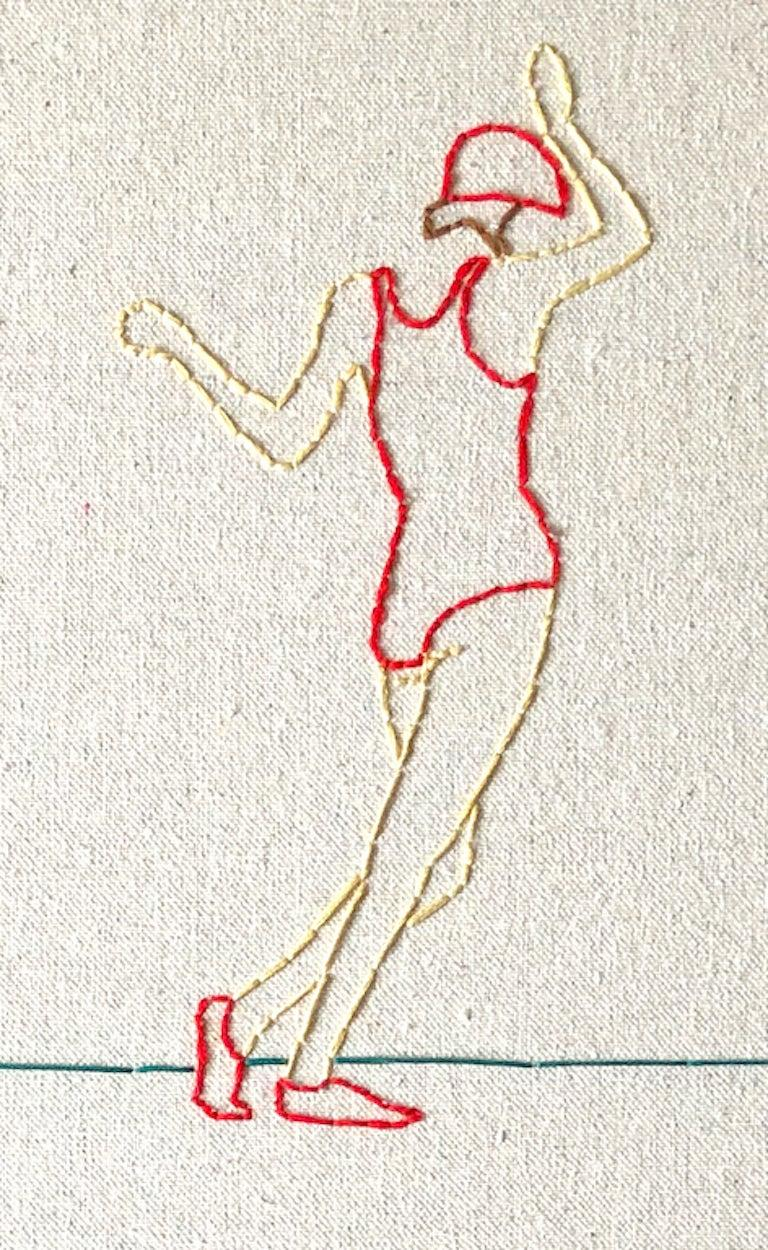 American Swing, Hand Stitched Canvas, Cherrywood Frame