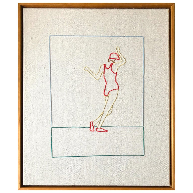 Swing, Hand Stitched Canvas, Cherrywood Frame