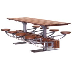 Swing-Out-Seat Outdoor Dining Table Set