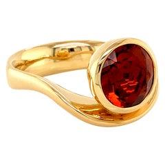 Georg Spreng - Swing Ring 18 Karat Yellow Gold round Citrine Madeira orange