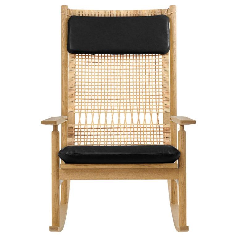 For Sale: Black (Nevada 0500) Swing Rocking Chair in Oak, by Hans Olsen from Warm Nordic