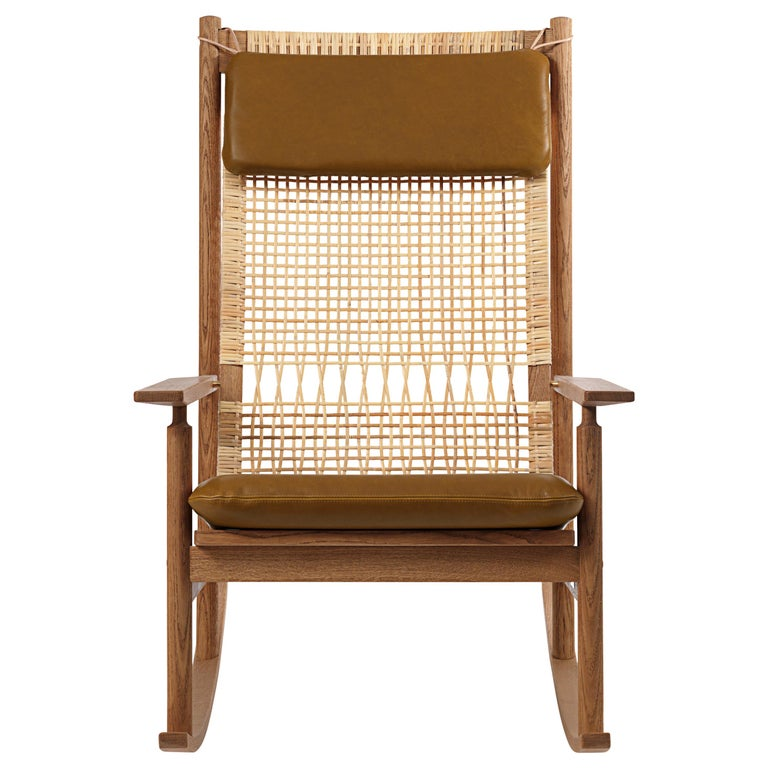 For Sale: Brown (Nevada 2488) Swing Rocking Chair in Teak, by Hans Olsen from Warm Nordic