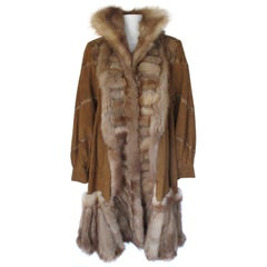 Swing Sable fur coat with brown soft suede