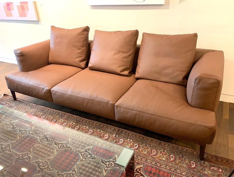 Contemporary Swing Sofa in Brown Leather by Bavuso Giuseppe & Alivar For Sale