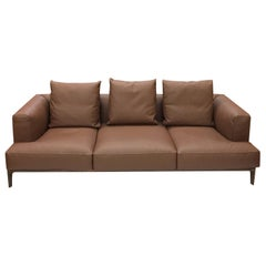 Swing Sofa in Brown Leather by Bavuso Giuseppe & Alivar
