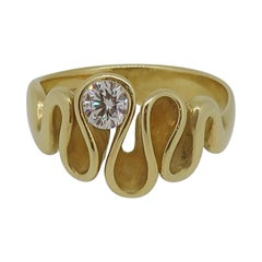 Swirl Diamond Solitaire Ring 18 Karat Yellow Gold