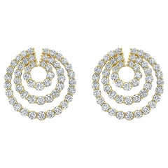 Swirl Earrings with Round Brilliant Cut Diamonds