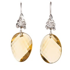 43.00 Carat Swirl Faceted Natural Lemon Quartz Diamond Gold Dangle Earrings