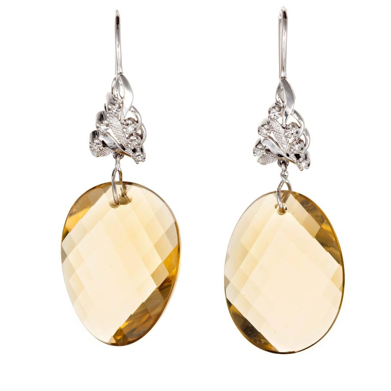 43.00 Carat Swirl Faceted Natural Lemon Quartz Diamond Gold Dangle Earrings