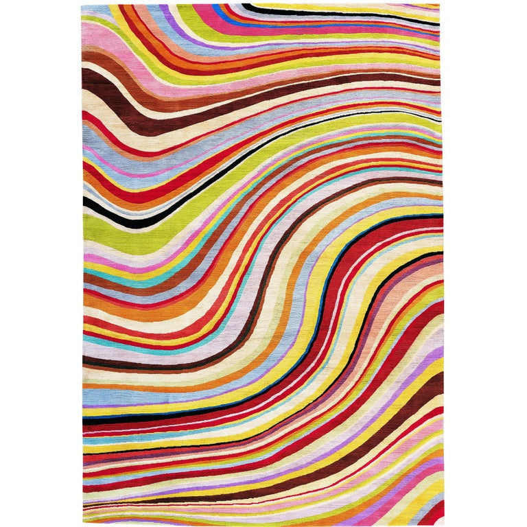 Swirl Hand Knotted 6x4 Floor Rug In Wool By Paul Smith For