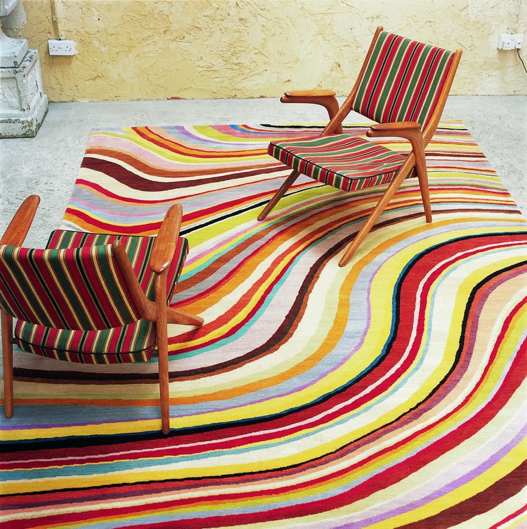 Swirl Hand Knotted Area Rug In Wool By Paul Smith For Sale
