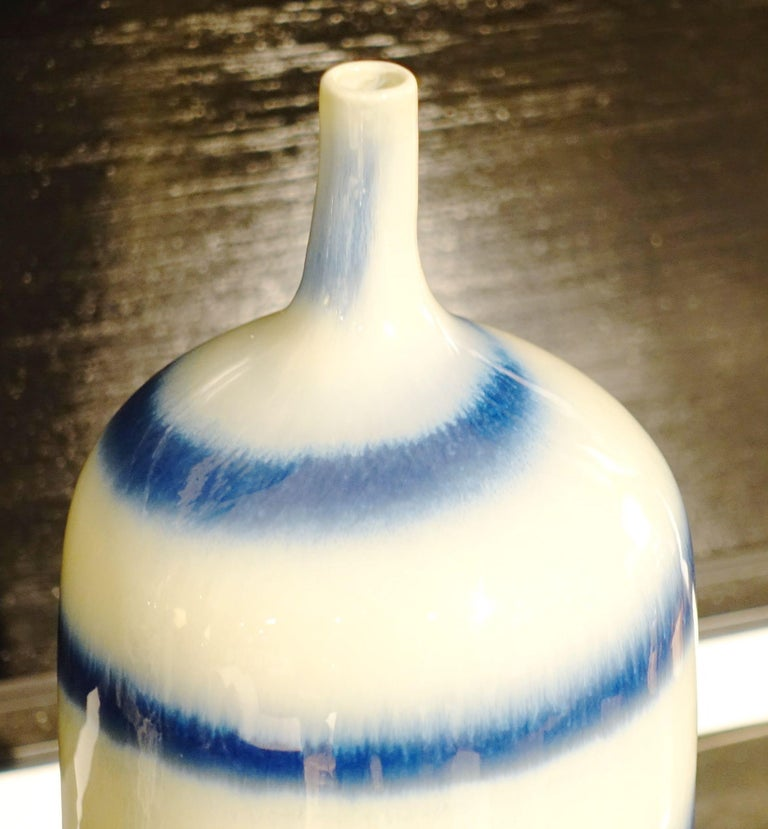 Chinese Swirl Pattern Blue and White Porcelain Vase, China, Contemporary For Sale
