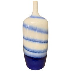 Swirl Pattern Blue and White Porcelain Vase, China, Contemporary
