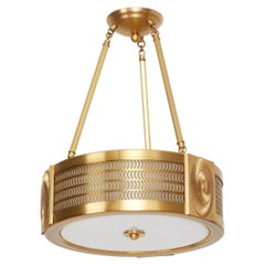 Swirl Pendant Light in Brass by David Duncan