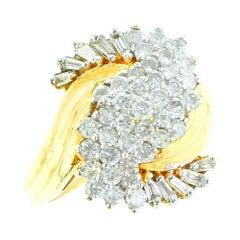Swirl Shape Diamond Ring, 14 Karat Yellow Gold