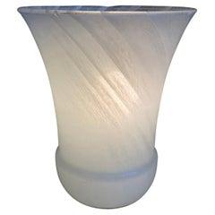 Swirled White Murano Vase Table Lamp, Italy 1970s