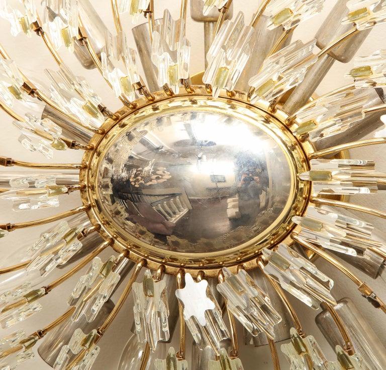Brass Swirling Italian Glass Wall Light Fixture For Sale