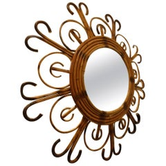 Swirling Midcentury Rattan Mirror