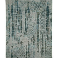 """Swish"" Navy Hand-Knotted Area Rug, In Stock"