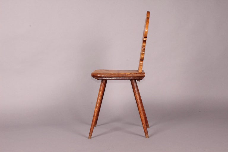 Wood Swiss Alp Escabelle, Dated 1783 For Sale