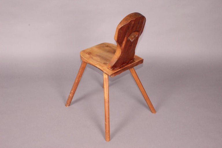 Wood Swiss Alp Escabelle Dated 1970 For Sale