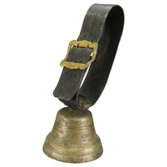 Swiss Alpine Cow Bell with Leather Strap, Antique, ca. 1900