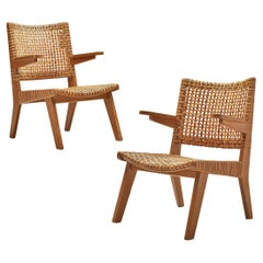 Swiss Armchairs in Oak and Cane