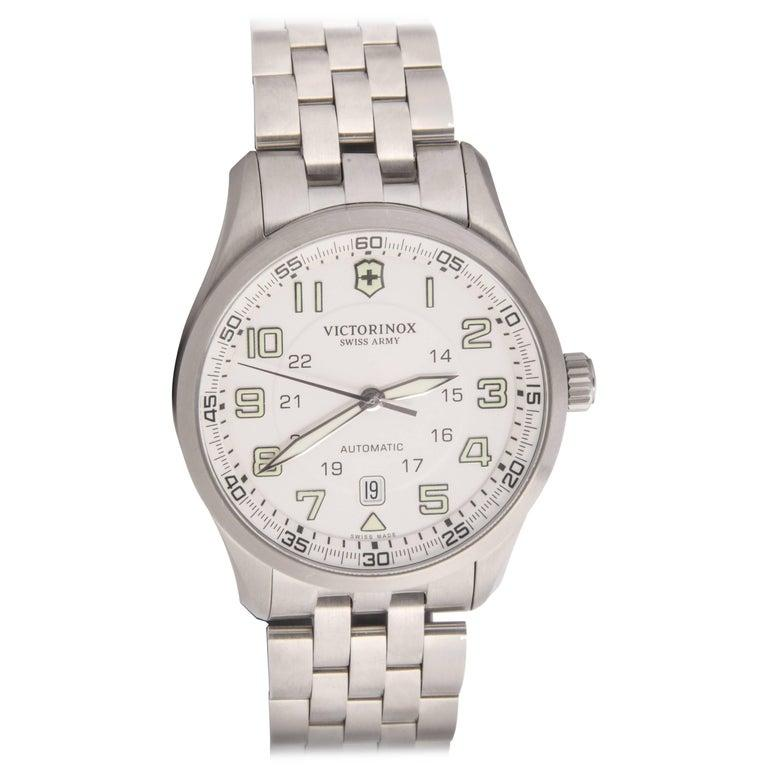 Swiss Army Airboss Stainless Steel Case Cream Dial Automatic Wristwatch For Sale 1