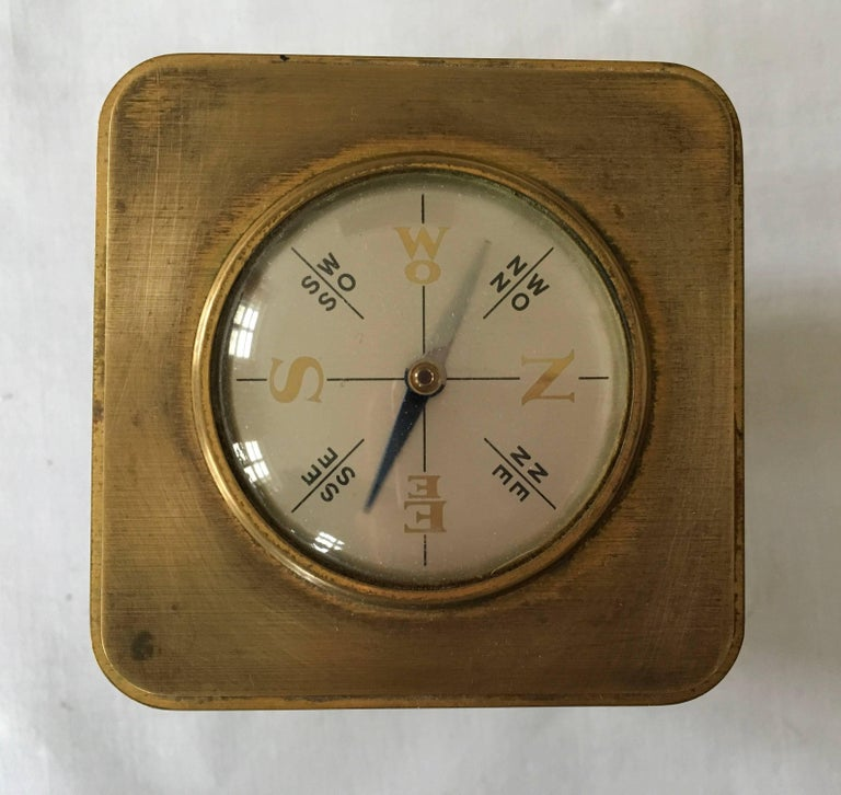 Mid 20th Century Swiss Art Deco Brass Angelus Meteo Desk Clock Weather Station For